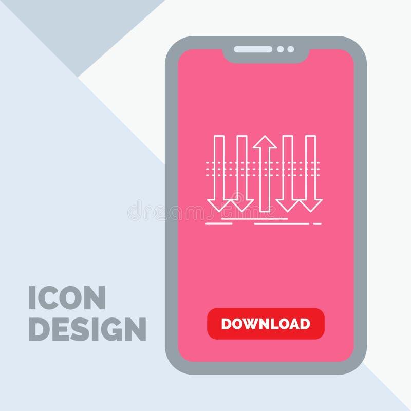 Pil affär, skillnad som är framåt, egenartlinje symbol i mobilen för nedladdningsida vektor illustrationer