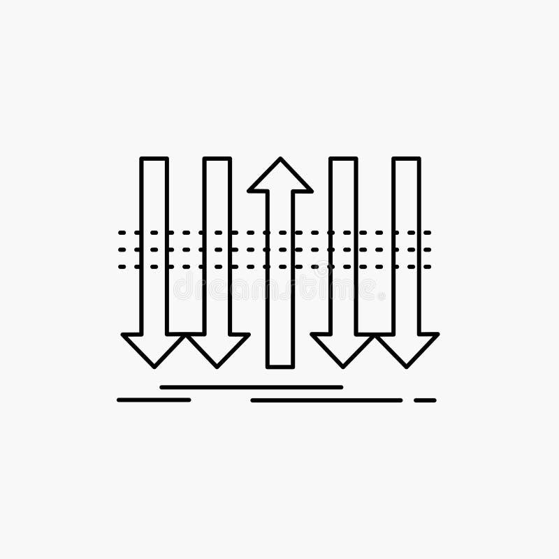 Pil affär, skillnad som är framåt, egenartlinje symbol Vektor isolerad illustration royaltyfri illustrationer