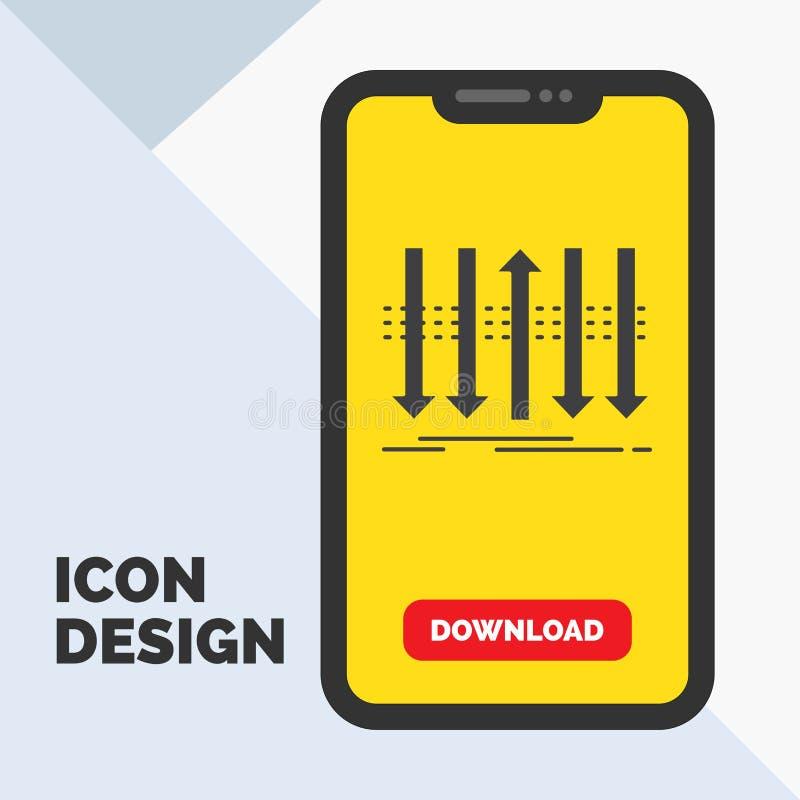 Pil affär, skillnad som är framåt, egenartskårasymbol i mobilen för nedladdningsida Gul bakgrund stock illustrationer