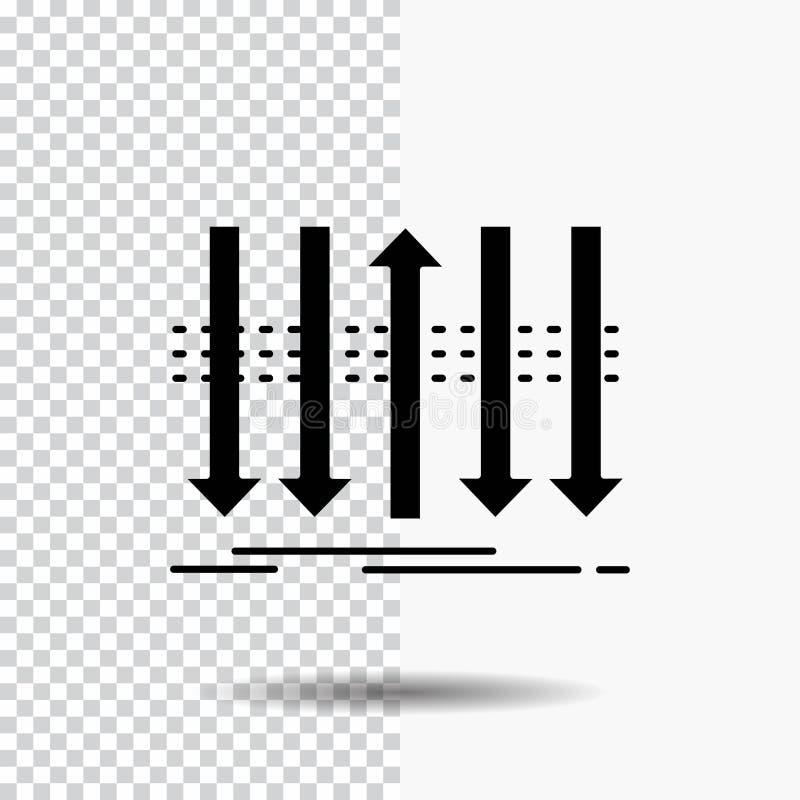 Pil affär, skillnad som är framåt, egenartskårasymbol på genomskinlig bakgrund Svart symbol royaltyfri illustrationer