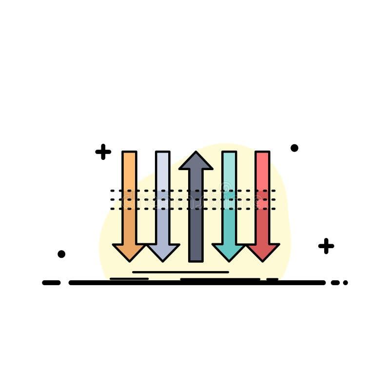 Pil affär, skillnad som är framåt, för färgsymbol för egenart plan vektor vektor illustrationer