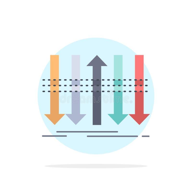 Pil affär, skillnad som är framåt, för färgsymbol för egenart plan vektor stock illustrationer