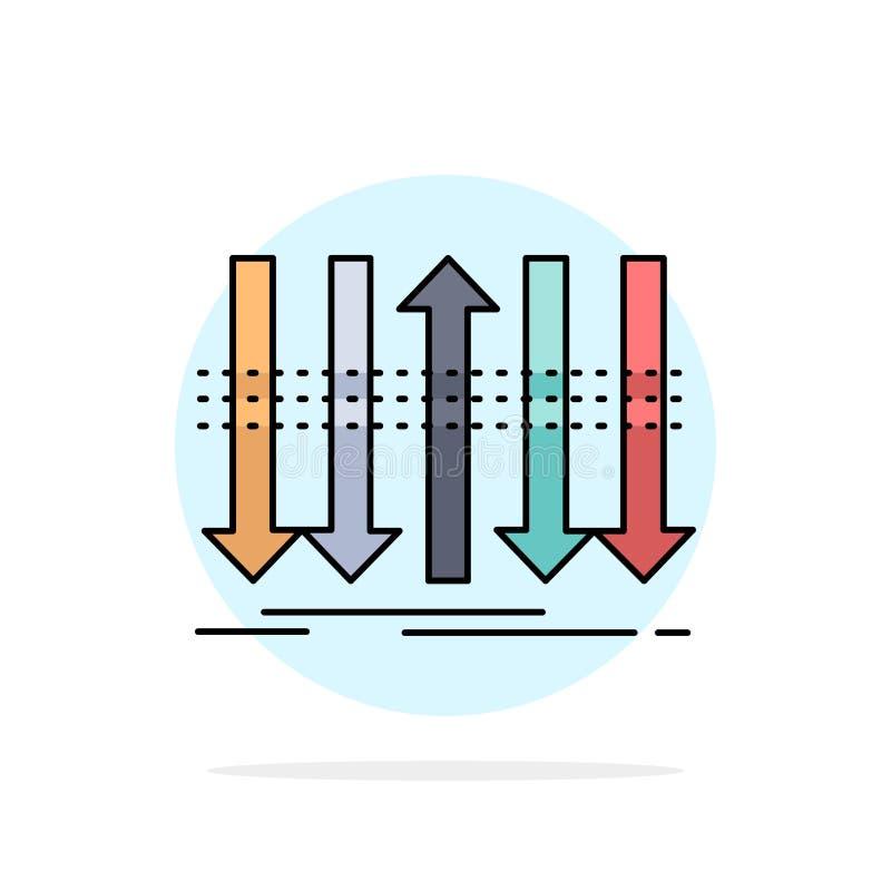 Pil affär, skillnad som är framåt, för färgsymbol för egenart plan vektor royaltyfri illustrationer