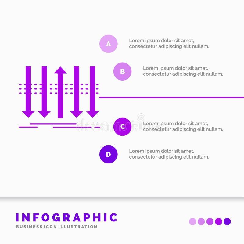 Pil, aff?r, skillnad, fram?t, egenartInfographics mall f?r Website och presentation Sk?ralilasymbol vektor illustrationer