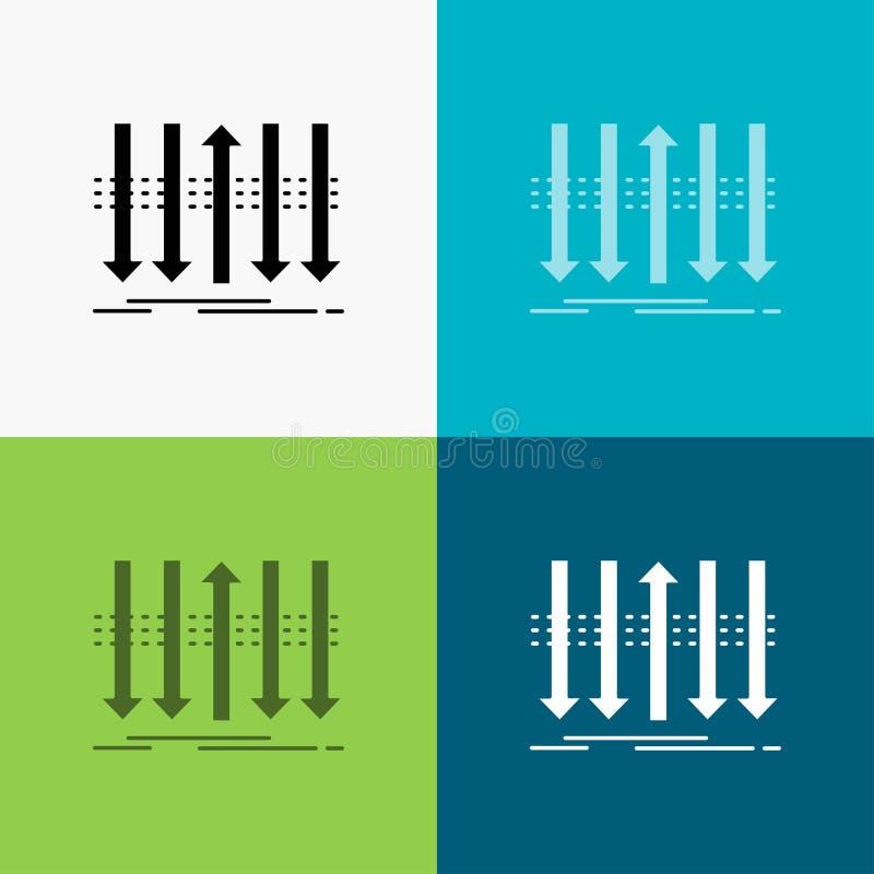 Pil aff?r, skillnad som ?r fram?t, egenartsymbol ?ver olik bakgrund sk?rastildesign som planl?ggs f?r reng?ringsduk och app stock illustrationer