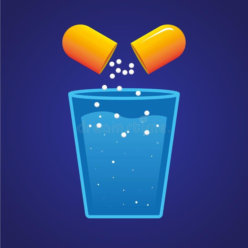 Pil en een glas water royalty-vrije illustratie