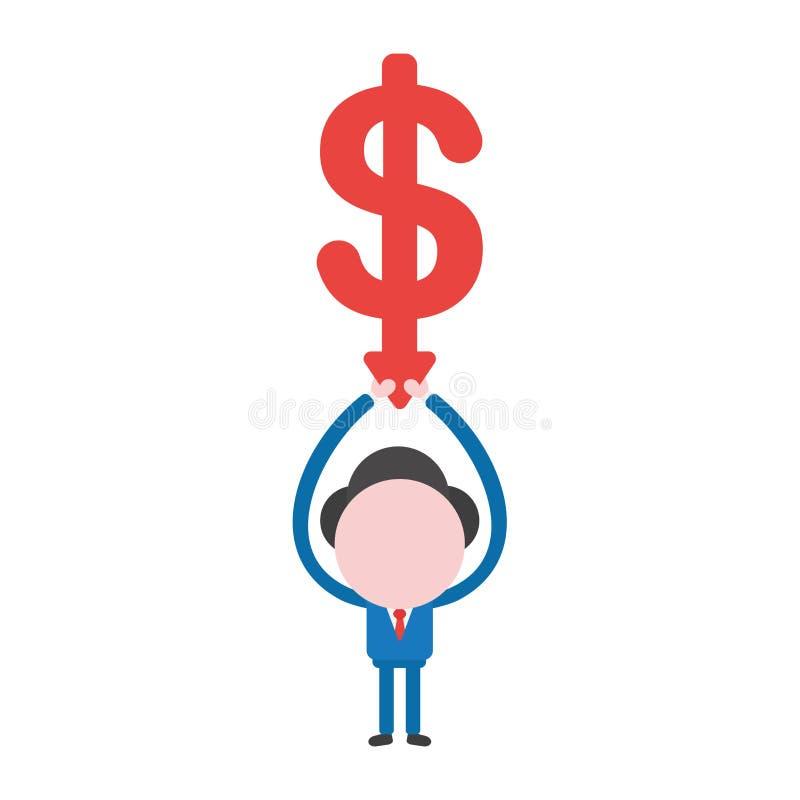 Pil för dollar för vektoraffärsmantecken som hållande övre ner flyttar sig royaltyfri illustrationer