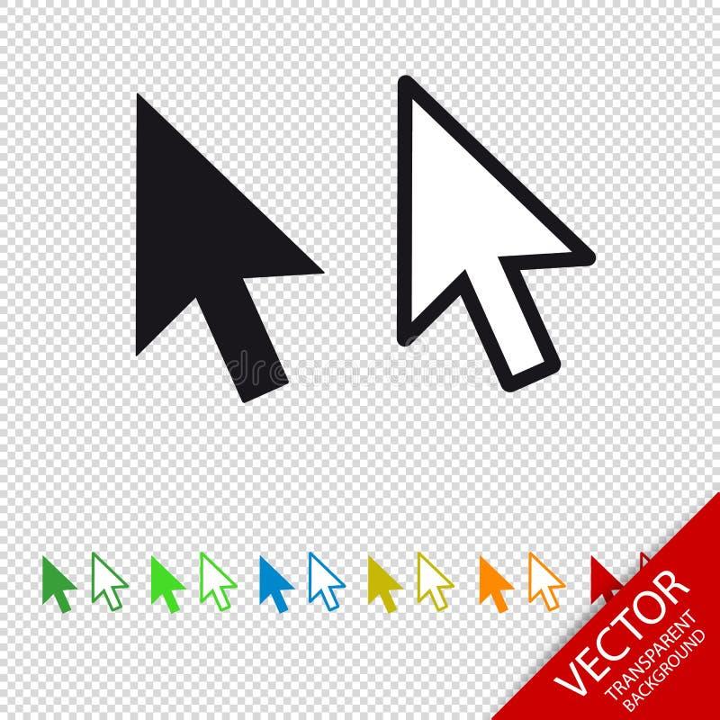 Pil för pekare för datormusklick - vektorsymbol - som isoleras på genomskinlig bakgrund vektor illustrationer