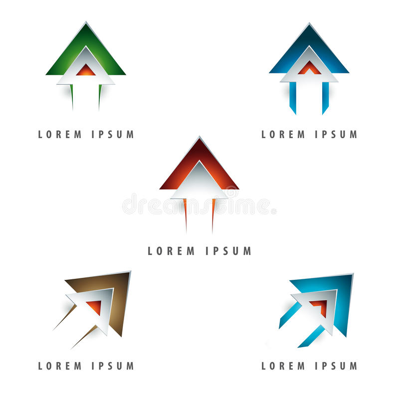 Pil formad logo royaltyfri illustrationer