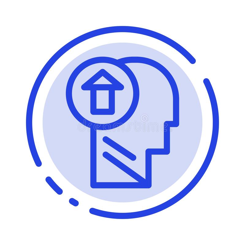 Pil huvud, människa, kunskap, mening, upp den blåa prickiga linjen linje symbol stock illustrationer