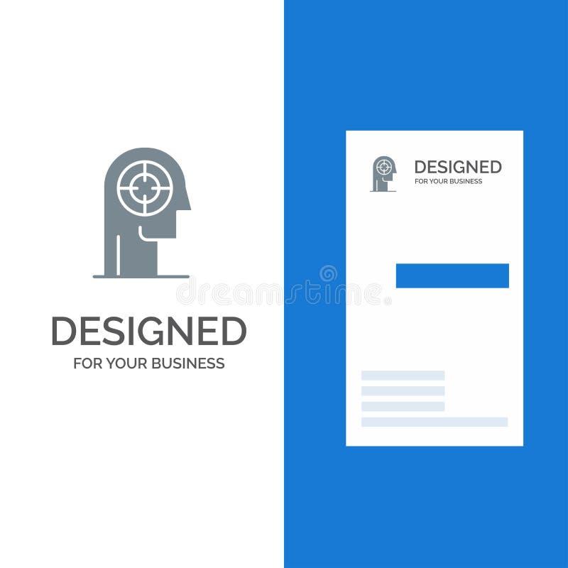 Pil, koncentration, fokus, huvud, människa Grey Logo Design och mall för affärskort royaltyfri illustrationer