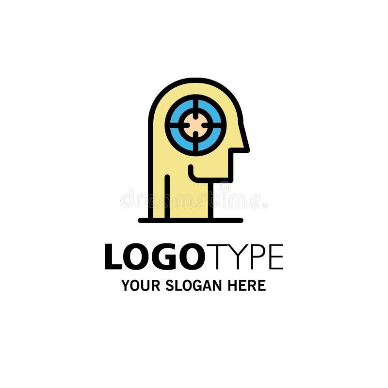 Pil koncentration, fokus, huvud, mänsklig affär Logo Template plan f?rg vektor illustrationer