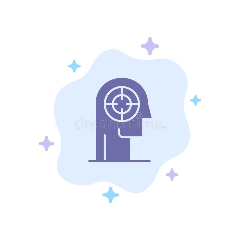 Pil koncentration, fokus, huvud, mänsklig blå symbol på abstrakt molnbakgrund stock illustrationer