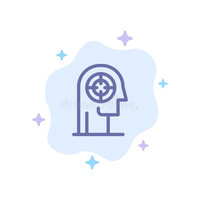 Pil koncentration, fokus, huvud, mänsklig blå symbol på abstrakt molnbakgrund vektor illustrationer