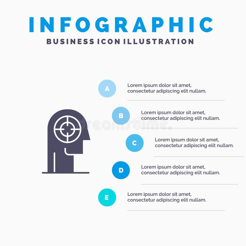 Pil koncentration, fokus, huvud, mänsklig fast bakgrund för presentation för symbolsInfographics 5 moment stock illustrationer