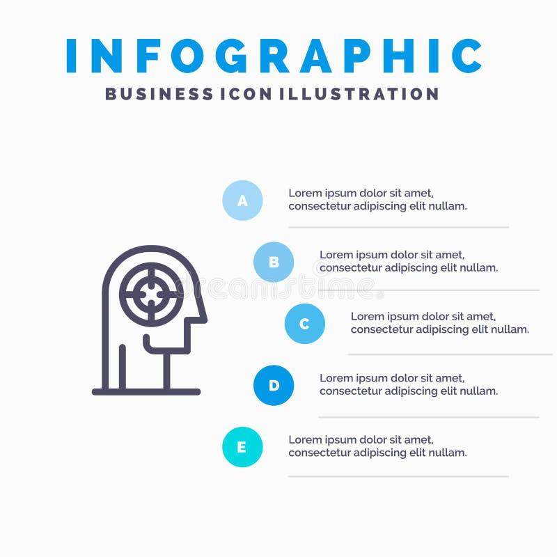 Pil koncentration, fokus, huvud, mänsklig linje symbol med för presentationsinfographics för 5 moment bakgrund royaltyfri illustrationer