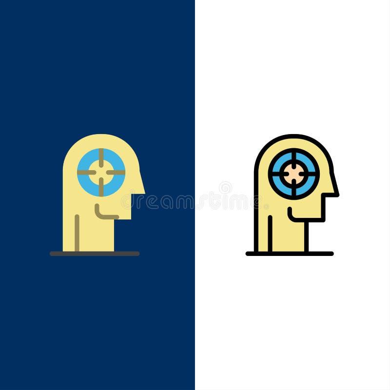 Pil koncentration, fokus, huvud, mänskliga symboler Lägenheten och linjen fylld symbol ställde in blå bakgrund för vektorn stock illustrationer