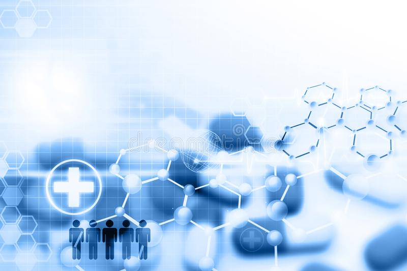 Pil met molecules royalty-vrije illustratie