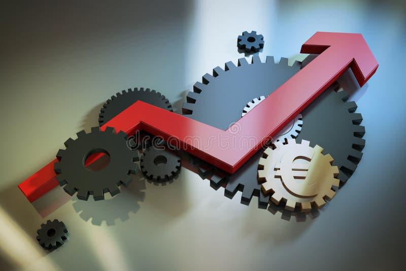 Pil och kugghjul vektor illustrationer