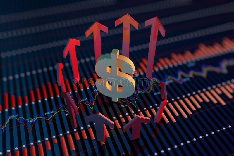 Pil och valutasymboler vektor illustrationer