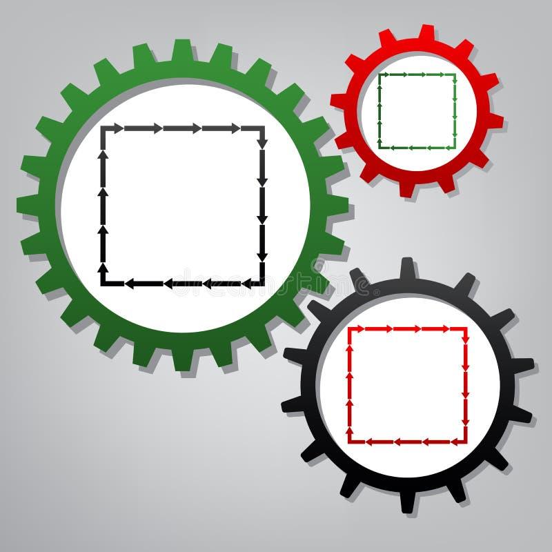 Pil på en fyrkantig form vektor Tre förbindelsekugghjul med symbolen stock illustrationer
