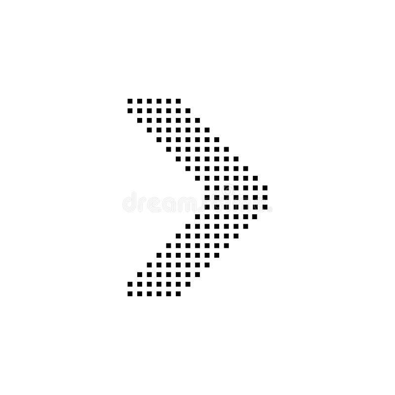 pil rätt, navigering, PIXELsymbol Beståndsdel av riktningssymbolen Tecken och symbolsamlingssymbol för websites, rengöringsdukdes stock illustrationer
