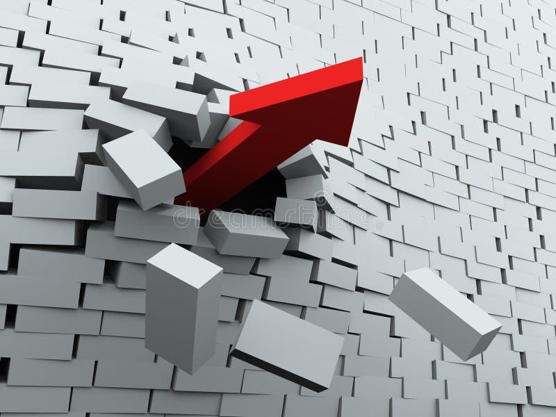 pil som 3d bryter väggen vektor illustrationer