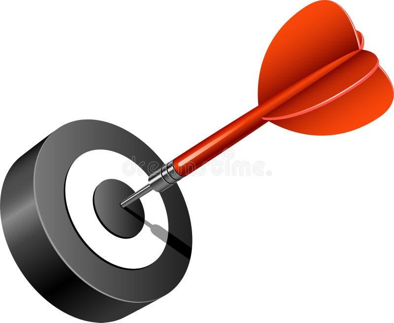 pil som slår det röda målet stock illustrationer