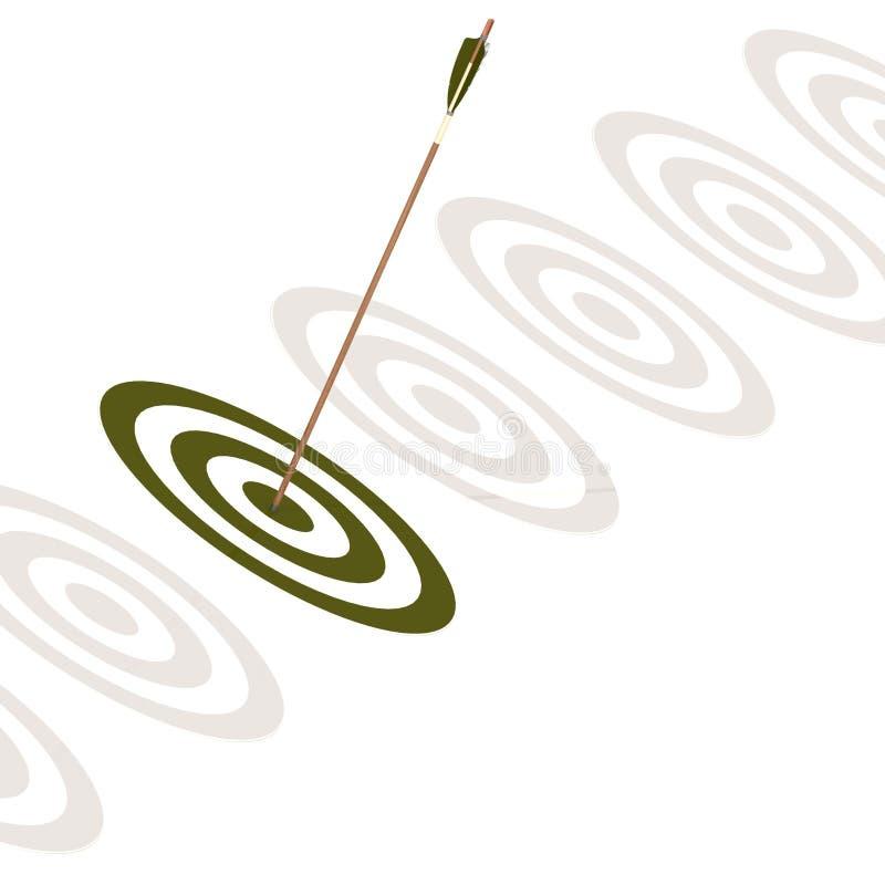 Pil som slår mitten av ett grönt bräde stock illustrationer