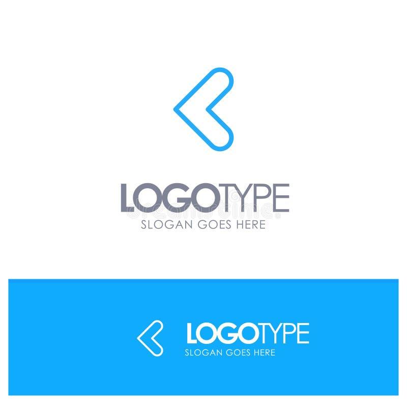 Pil tillbaka, bakåtriktad vänster blå översikt Logo Place för Tagline stock illustrationer