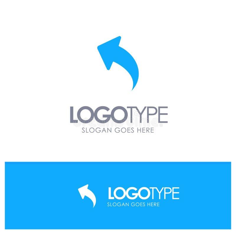 Pil upp, tillbaka blå fast logo med stället för tagline royaltyfri illustrationer