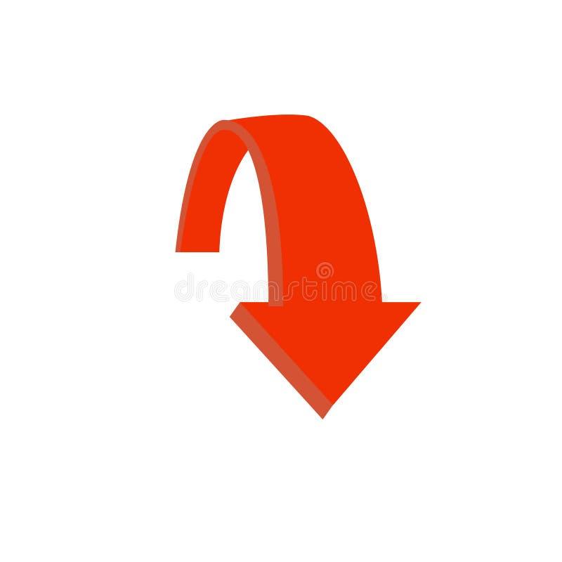 Pil upp vektorsymbol Detta rundade plant symbol dras med röd färg på en vit bakgrund royaltyfri illustrationer