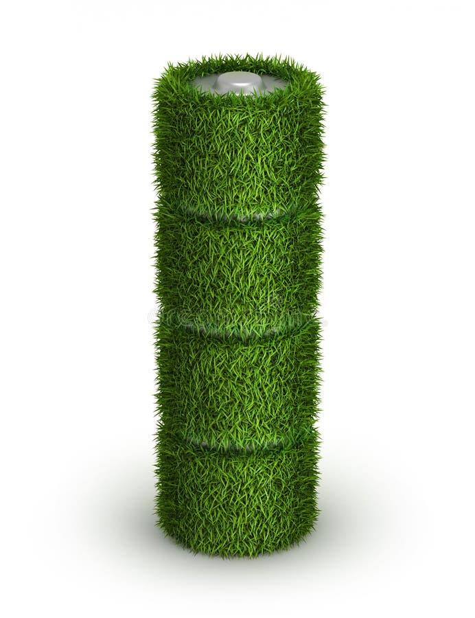 Pila AA de la hierba con las células stock de ilustración