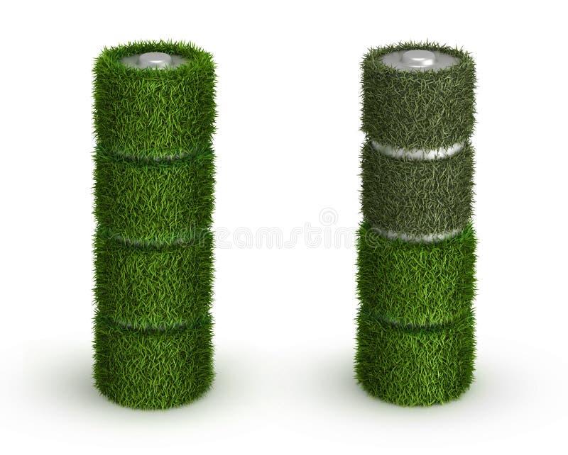 Pila AA de la hierba con las células y descargada ilustración del vector