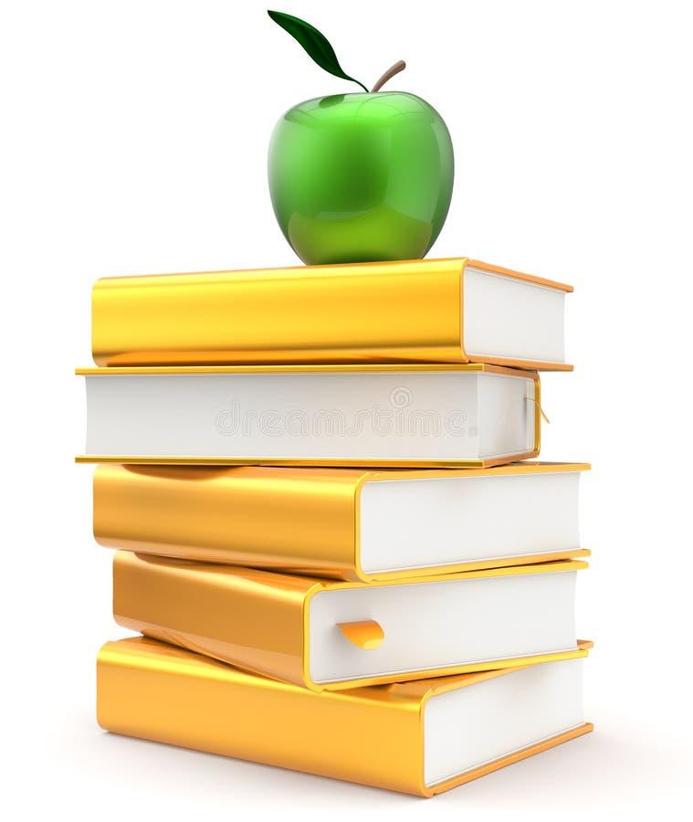 Pila amarilla de oro del libro de texto de la literatura de los libros verde stock de ilustración