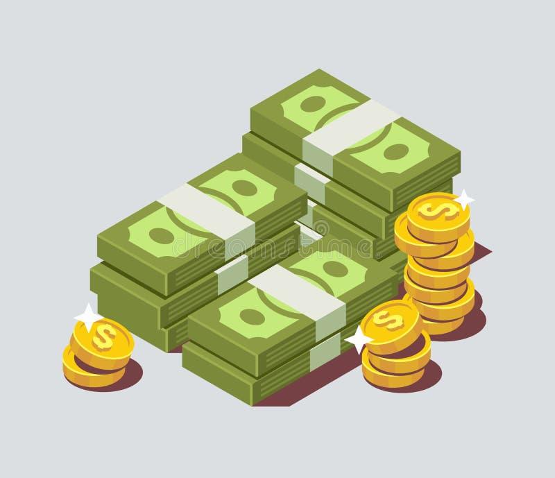 Pila apilada de efectivo con la moneda stock de ilustración