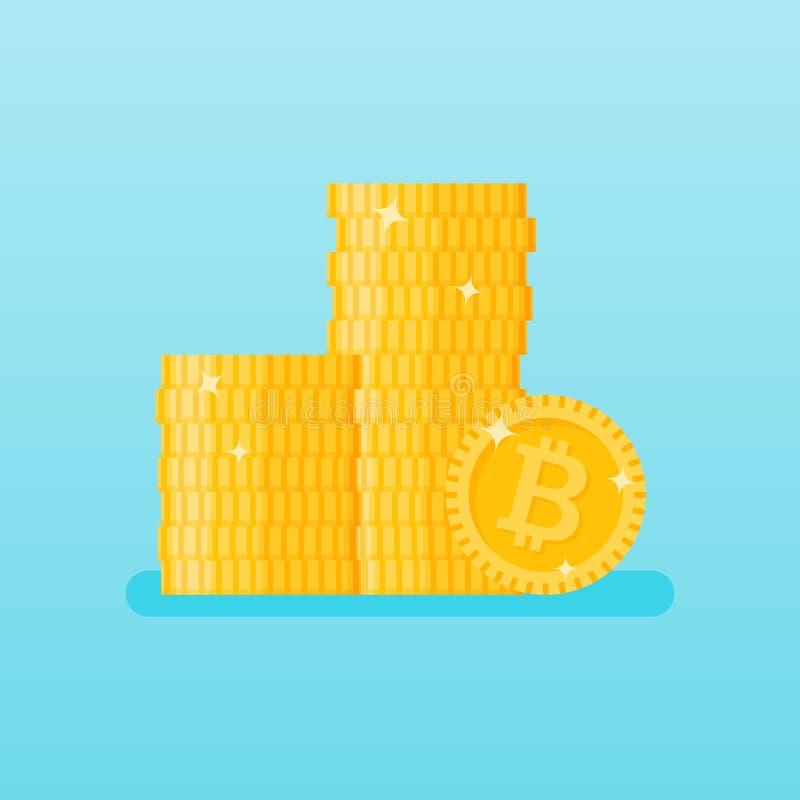 Pila apilada de monedas del bitcoin Ilustración del vector stock de ilustración