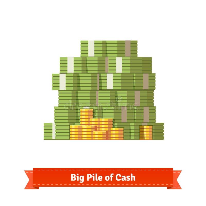 Pila apilada grande de efectivo y de algunas monedas de oro stock de ilustración