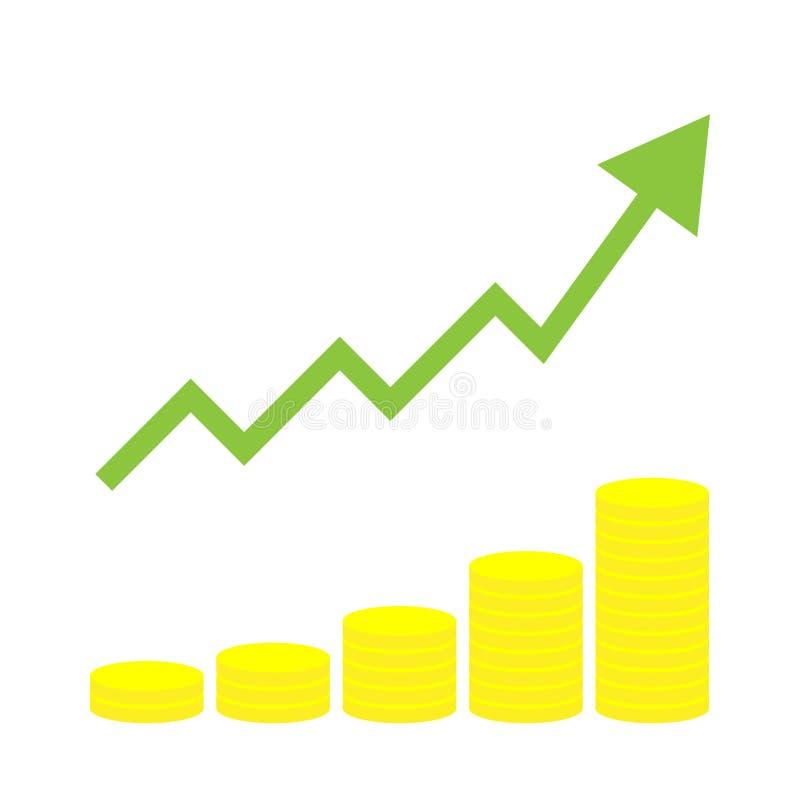 Pila aumentante di moneta con la freccia, facente concetto di profitto, crescita del reddito infographic illustrazione vettoriale