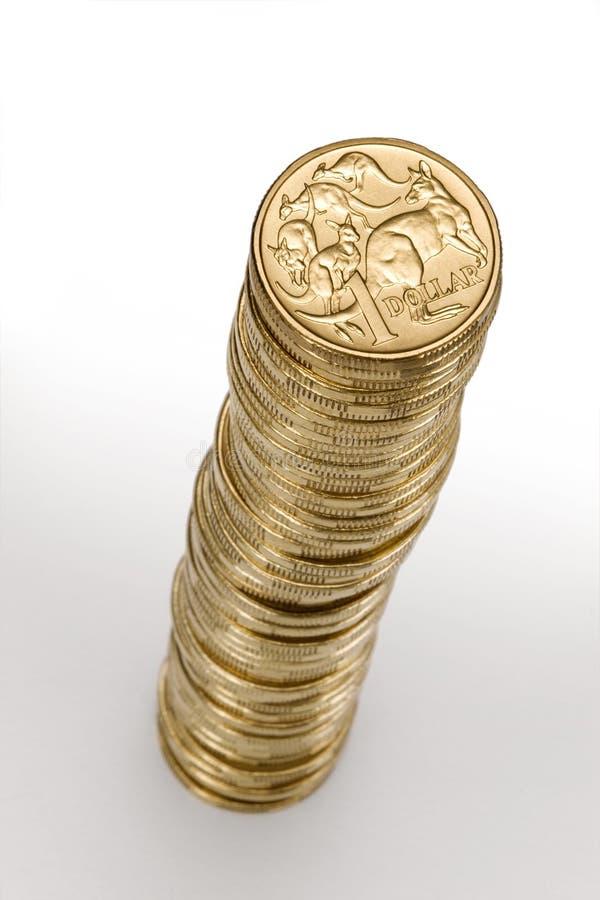 Pila australiana della moneta del dollaro dei soldi fotografia stock libera da diritti