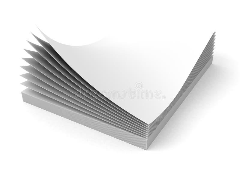 Pila in bianco degli strati della carta dell'ufficio su fondo bianco illustrazione vettoriale
