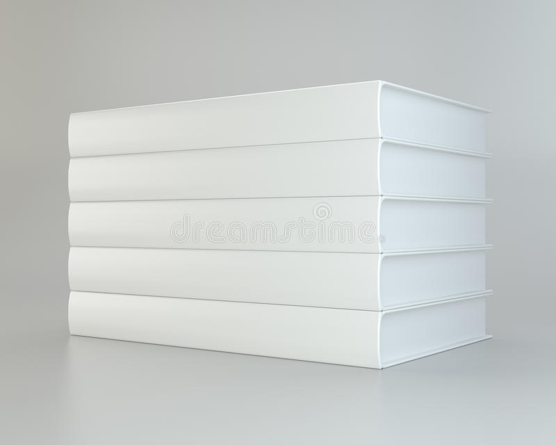 Pila blanca realista de libros en fondo gris representación 3d stock de ilustración