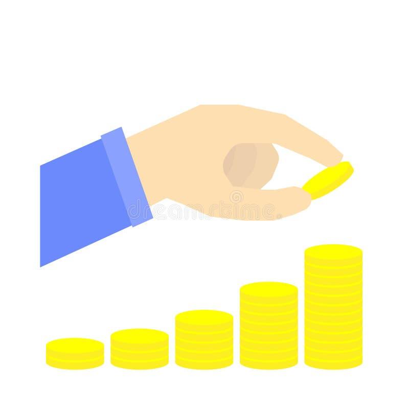 Pila cada vez mayor de moneda con la mano, concepto de ahorro del dinero, plan de retiro, vector infographic ilustración del vector