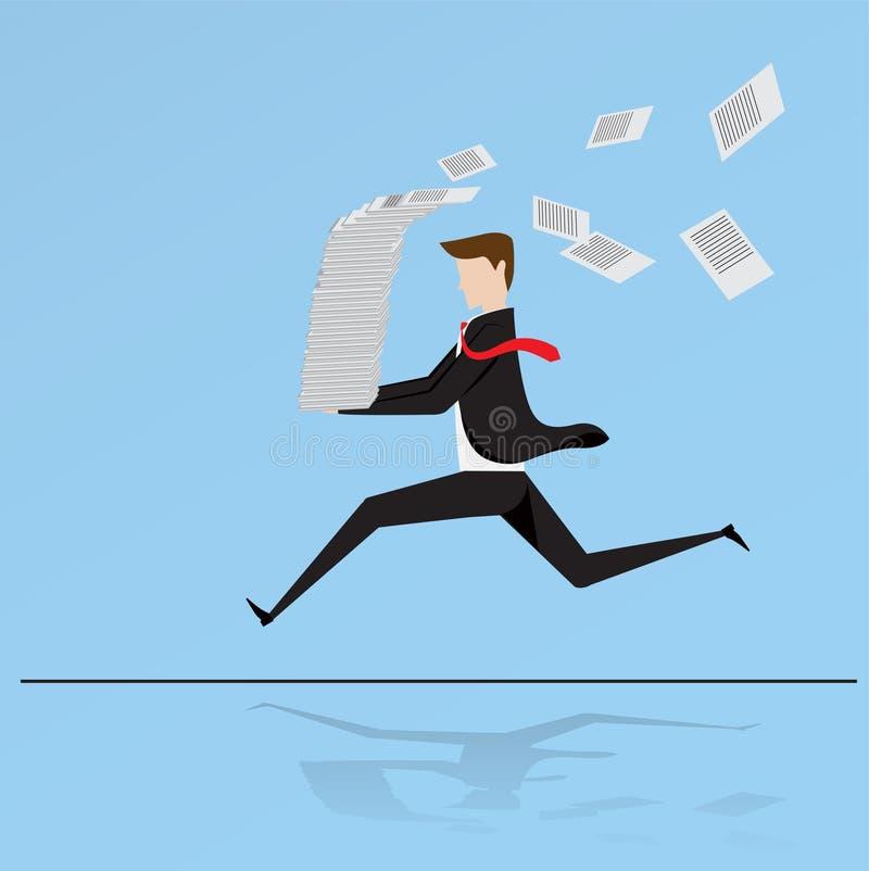 Pila corrida hombre de negocios de la tenencia mucho de papel stock de ilustración