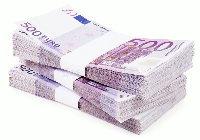 Pila de 500 euros imagen de archivo libre de regalías