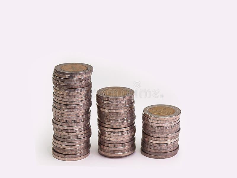 Pila de aumento de las monedas fotos de archivo libres de regalías
