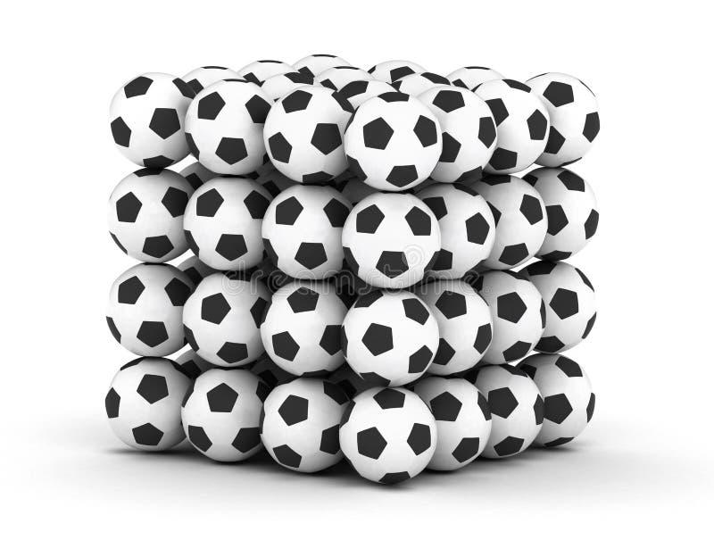 Pila de balones de fútbol del balompié fotos de archivo
