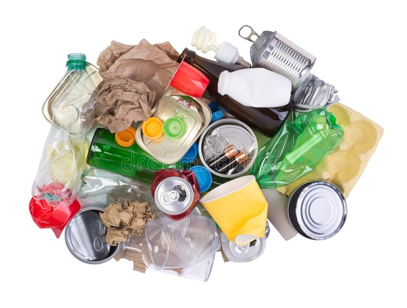 Pila de basura aislada en el fondo blanco foto de archivo libre de regalías
