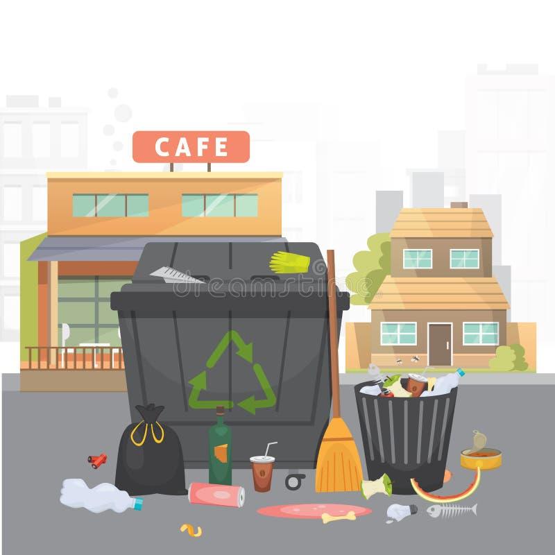 Pila de basura Basura en fondo de la ciudad Ejemplo aislado vector ilustración del vector