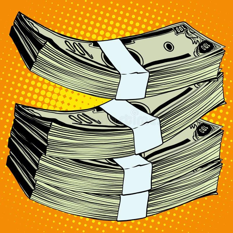 Pila de billete de banco del dinero de los dólares ilustración del vector